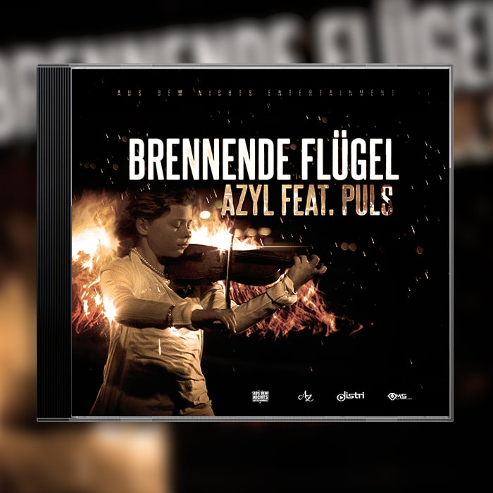 Grafik Design Album Cover Azyl feat Puls – Brennende Flügel