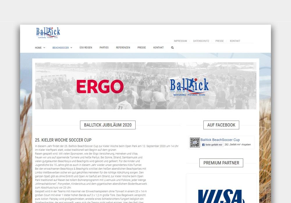 Balltick Webseite