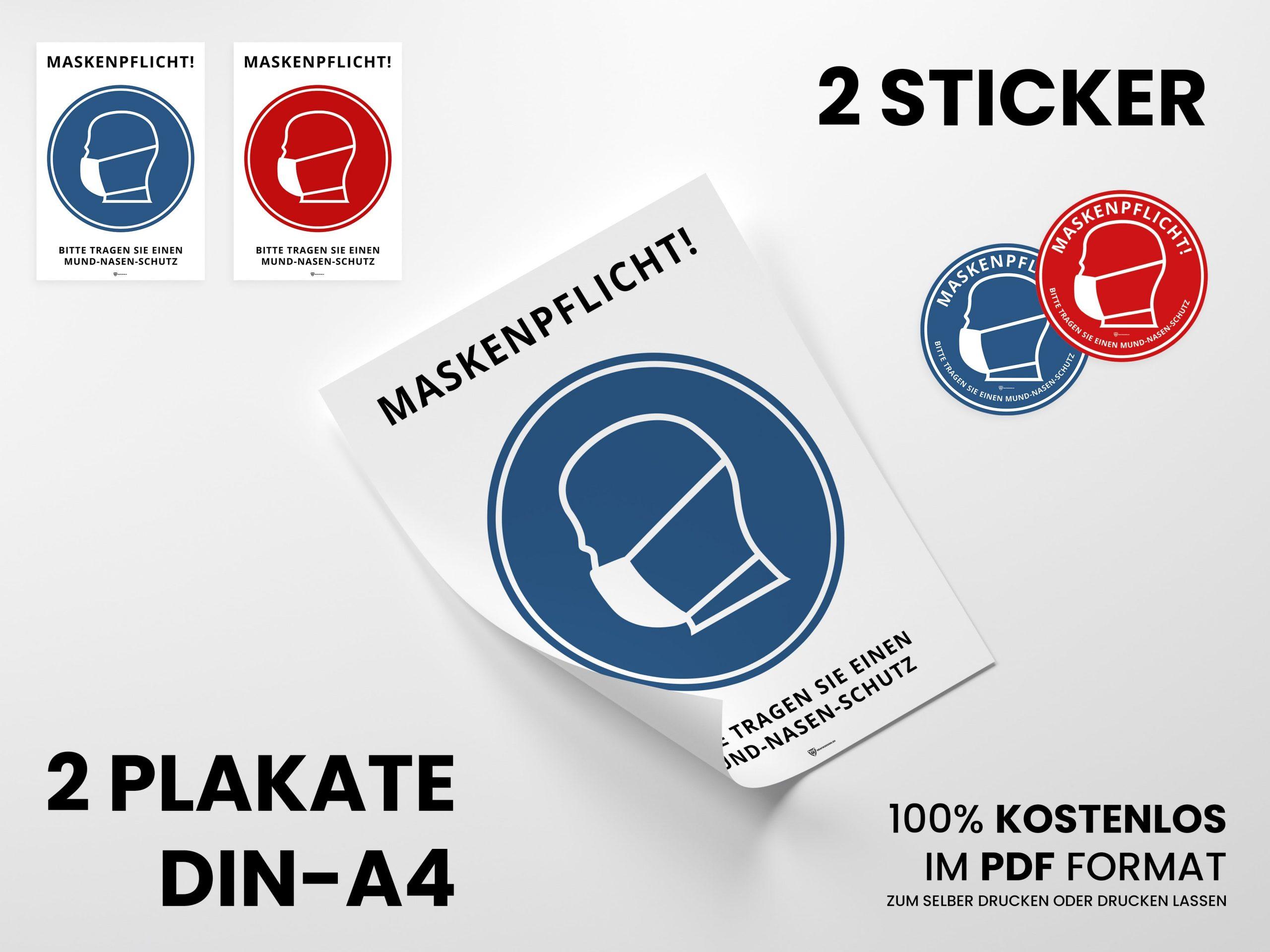 Maskenpflicht Hinweise als Plakat und Sticker