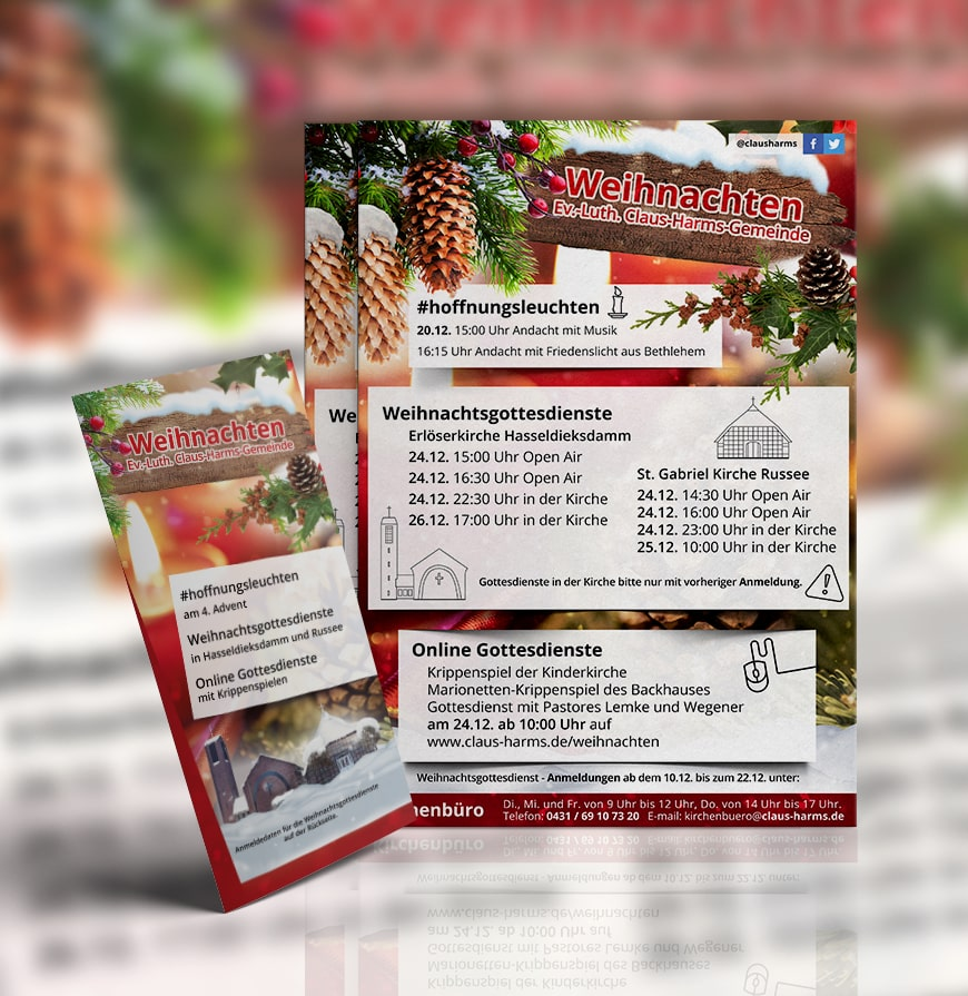 Grafik Design Plakat und Flyer Weihnachten Claus Harms Kirchengemeinde