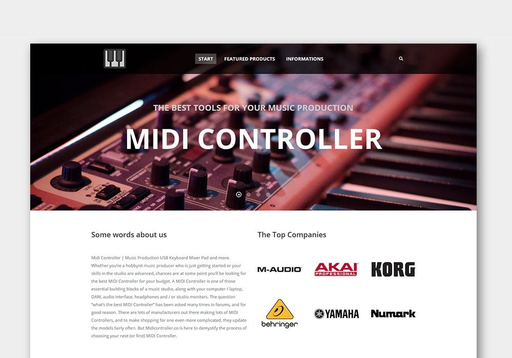 Grafik Design Wordpress One-Page Webseite Midicontroller