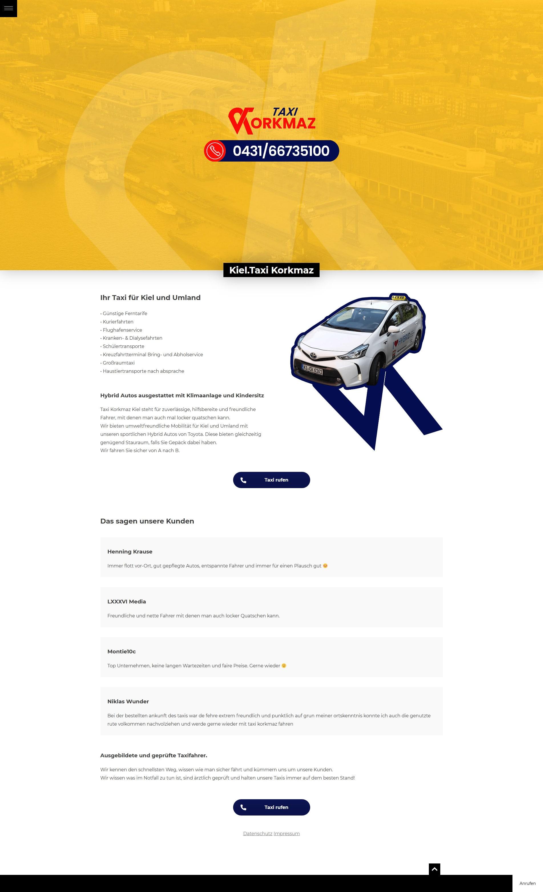 Grafik Design WordPress One-Page Webseite Taxi Korkmaz Kiel Fullsize Preview