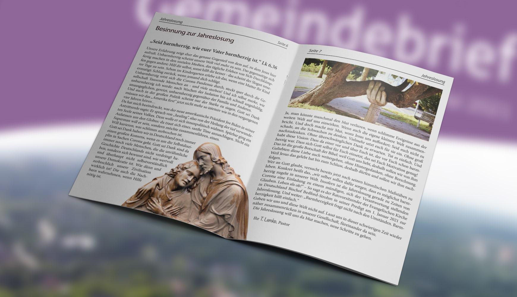 Grafic Design Zeitschrift Heft Design Gemeindebrief Claus-Harms März 2021 Innenseiten