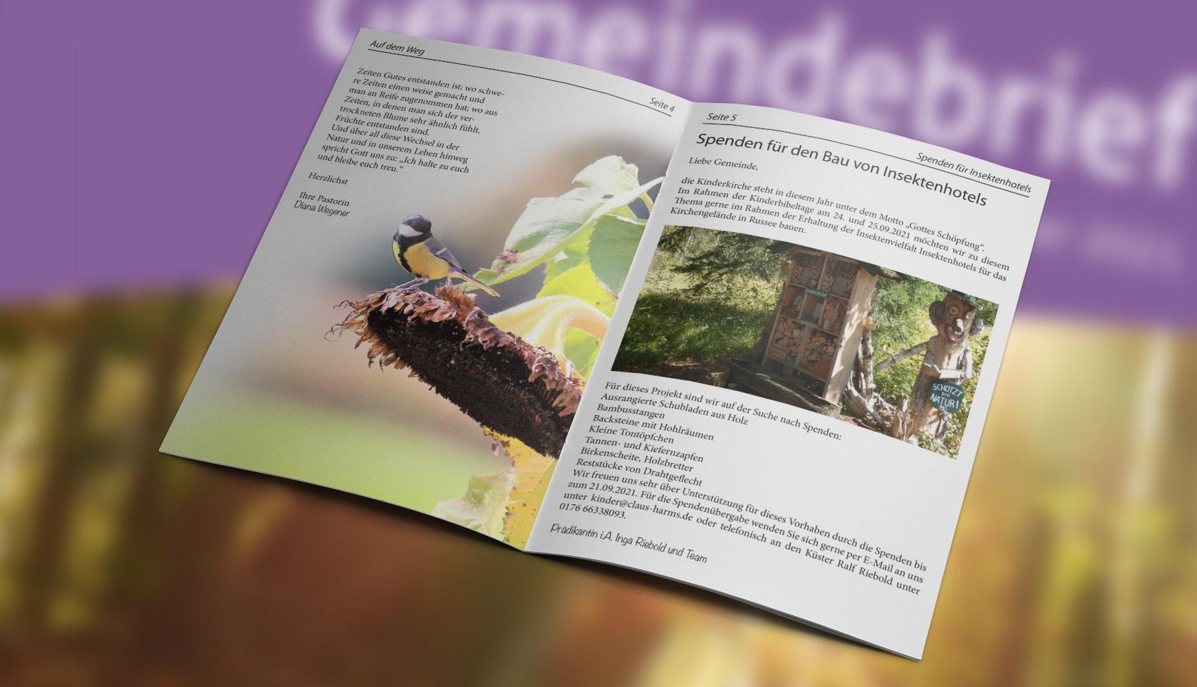 Grafik Design Zeitschrift Heft Design Gemeindebrief Claus-Harms September 2021 Innenseiten