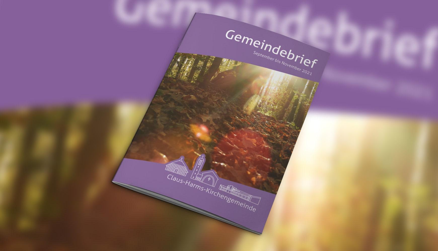 Grafik Design Zeitschrift Heft Design Gemeindebrief Claus-Harms September 2021