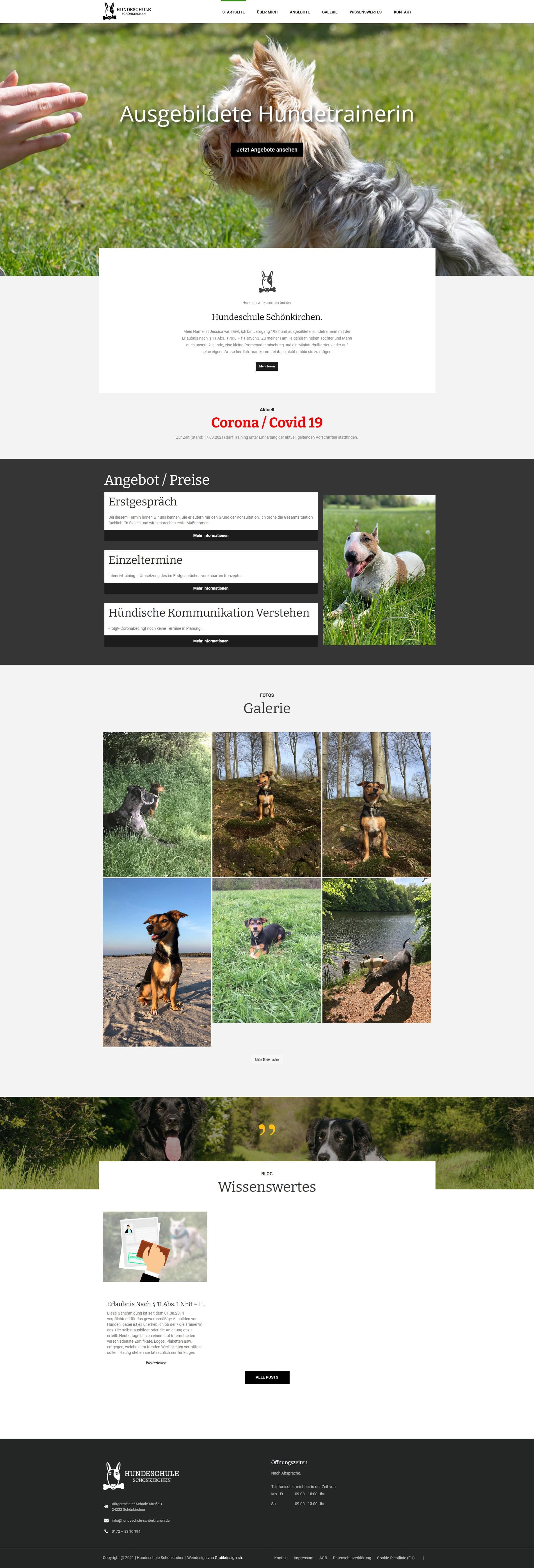 Grafik Design WordPress One-Page Webseite Hundeschule Schönkirchen Fullsize Preview