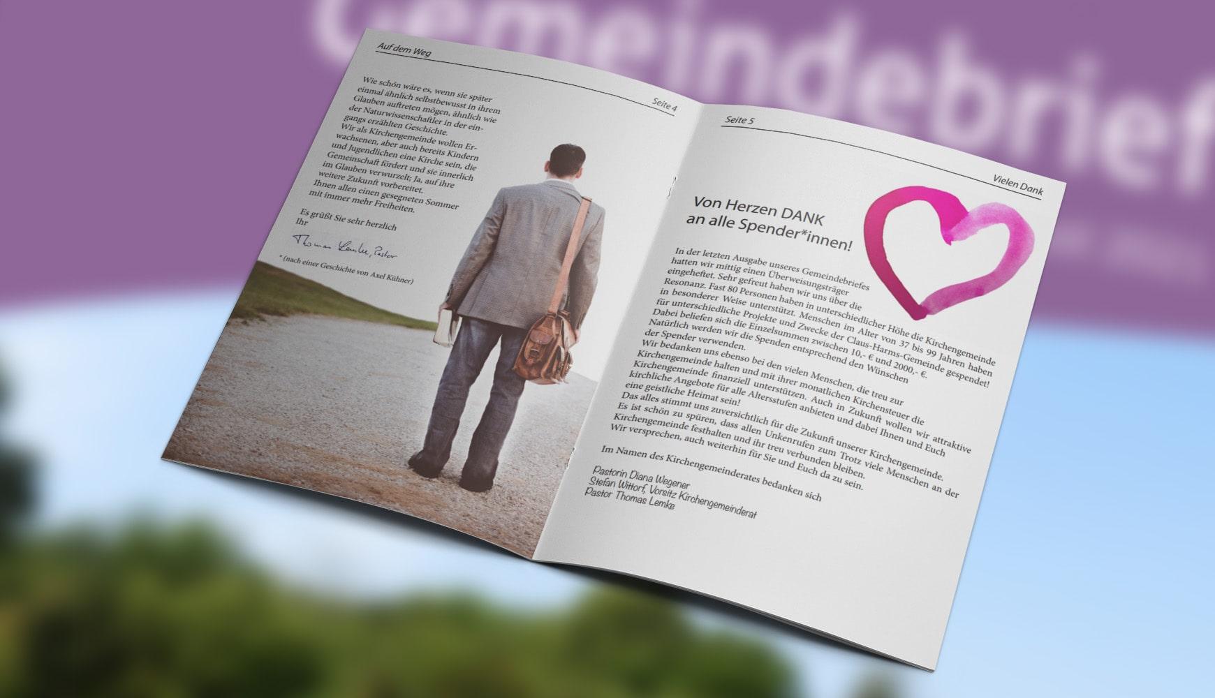 Grafik Design Zeitschrift Heft Design Gemeindebrief Claus-Harms Juni 2021 Innenseiten